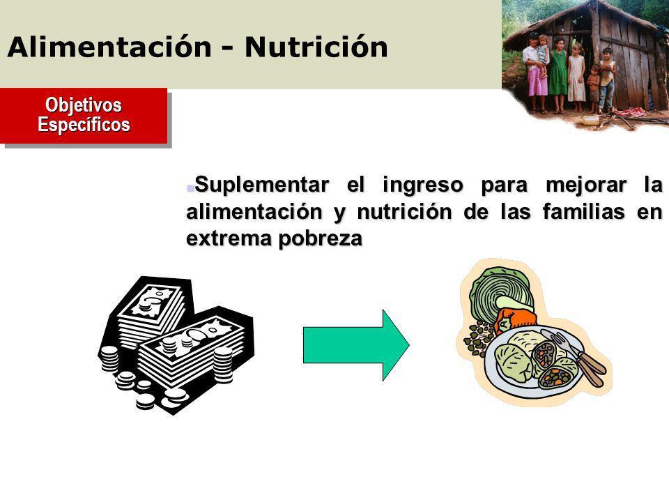 Objetivos Específicos n Suplementar el ingreso para mejorar la alimentación y nutrición de las familias en extrema pobreza Alimentación - Nutrición