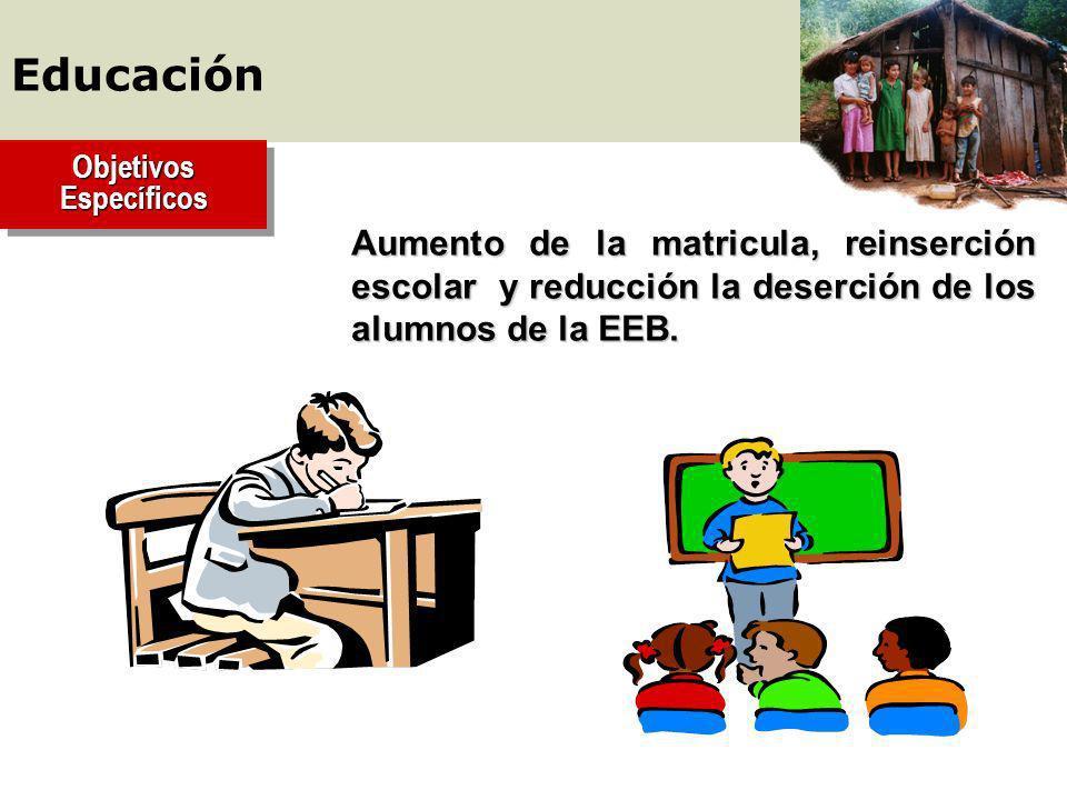 Aumento de la matricula, reinserción escolar y reducción la deserción de los alumnos de la EEB.