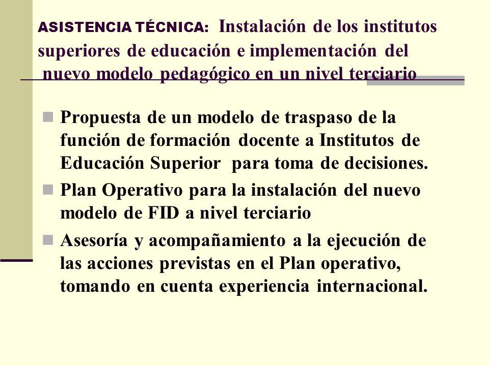 ASISTENCIA TÉCNICA: Instalación de los institutos superiores de educación e implementación del nuevo modelo pedagógico en un nivel terciario Propuesta