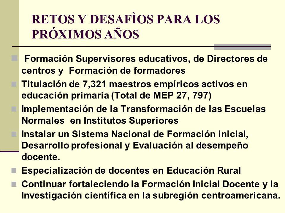 RETOS Y DESAFÌOS PARA LOS PRÓXIMOS AÑOS Formación Supervisores educativos, de Directores de centros y Formación de formadores Titulación de 7,321 maes