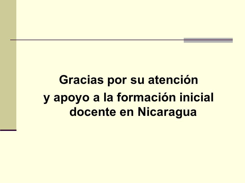 Gracias por su atención y apoyo a la formación inicial docente en Nicaragua