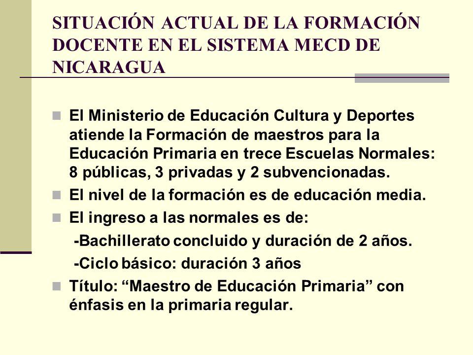 SITUACIÓN ACTUAL DE LA FORMACIÓN DOCENTE EN EL SISTEMA MECD DE NICARAGUA El Ministerio de Educación Cultura y Deportes atiende la Formación de maestro