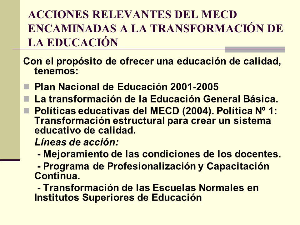 ACCIONES RELEVANTES DEL MECD ENCAMINADAS A LA TRANSFORMACIÓN DE LA EDUCACIÓN Con el propósito de ofrecer una educación de calidad, tenemos: Plan Nacio