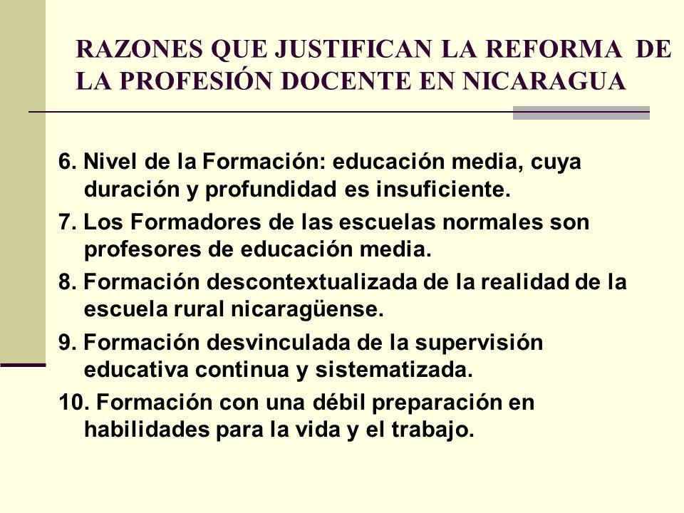 RAZONES QUE JUSTIFICAN LA REFORMA DE LA PROFESIÓN DOCENTE EN NICARAGUA 6. Nivel de la Formación: educación media, cuya duración y profundidad es insuf