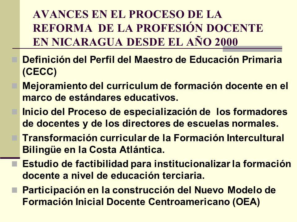 AVANCES EN EL PROCESO DE LA REFORMA DE LA PROFESIÓN DOCENTE EN NICARAGUA DESDE EL AÑO 2000 Definición del Perfil del Maestro de Educación Primaria (CE