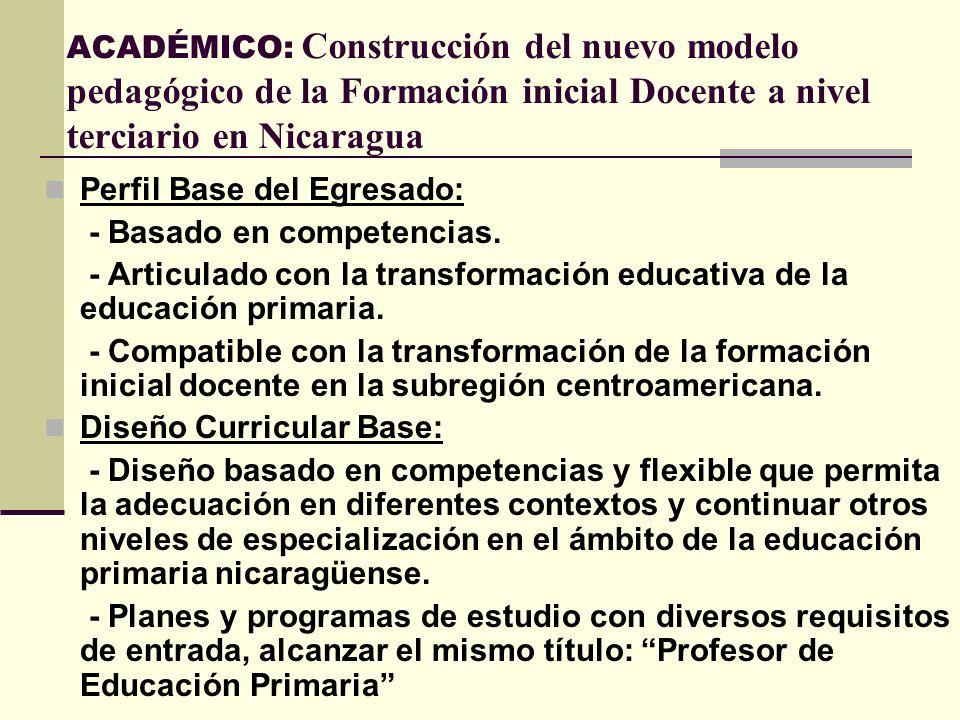 ACADÉMICO: Construcción del nuevo modelo pedagógico de la Formación inicial Docente a nivel terciario en Nicaragua Perfil Base del Egresado: - Basado