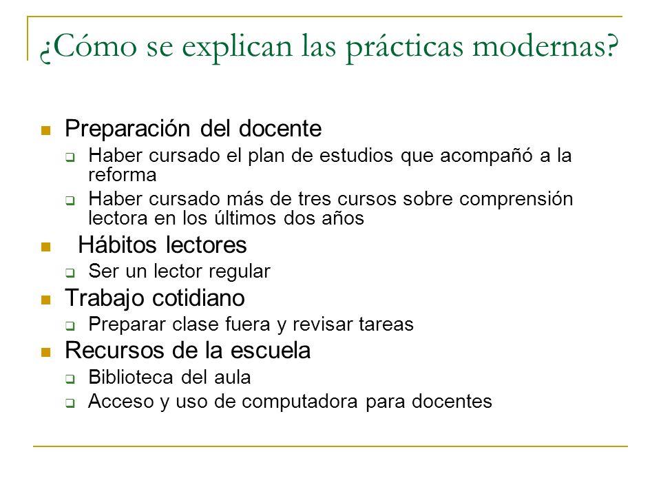¿Cómo se explican las prácticas modernas? Preparación del docente Haber cursado el plan de estudios que acompañó a la reforma Haber cursado más de tre