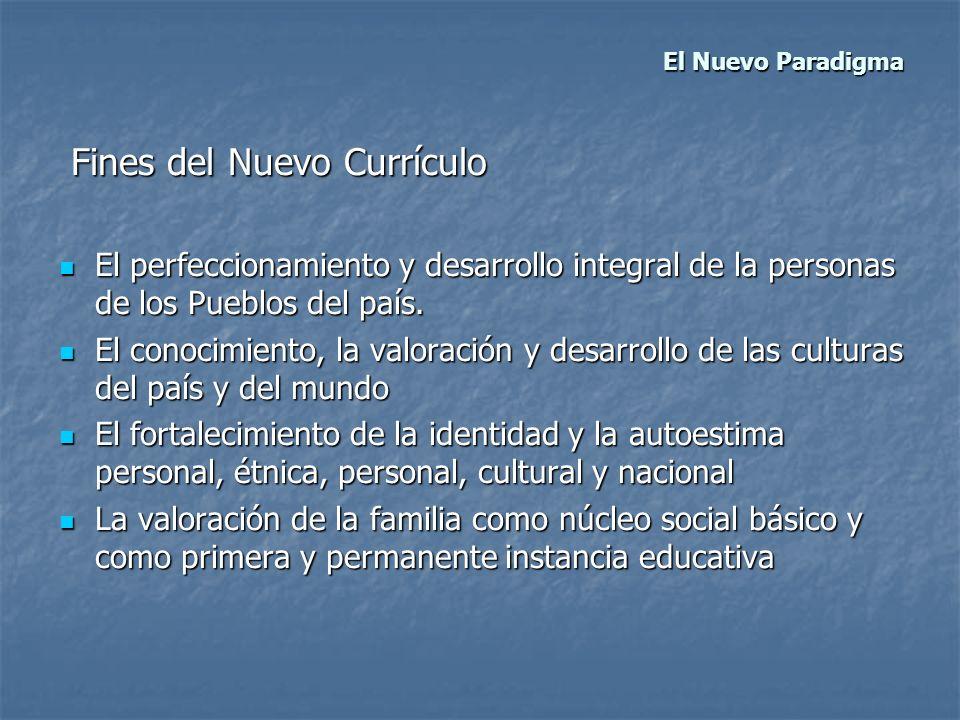 El Nuevo Paradigma El Nuevo Paradigma Fines del Nuevo Currículo Fines del Nuevo Currículo El perfeccionamiento y desarrollo integral de la personas de