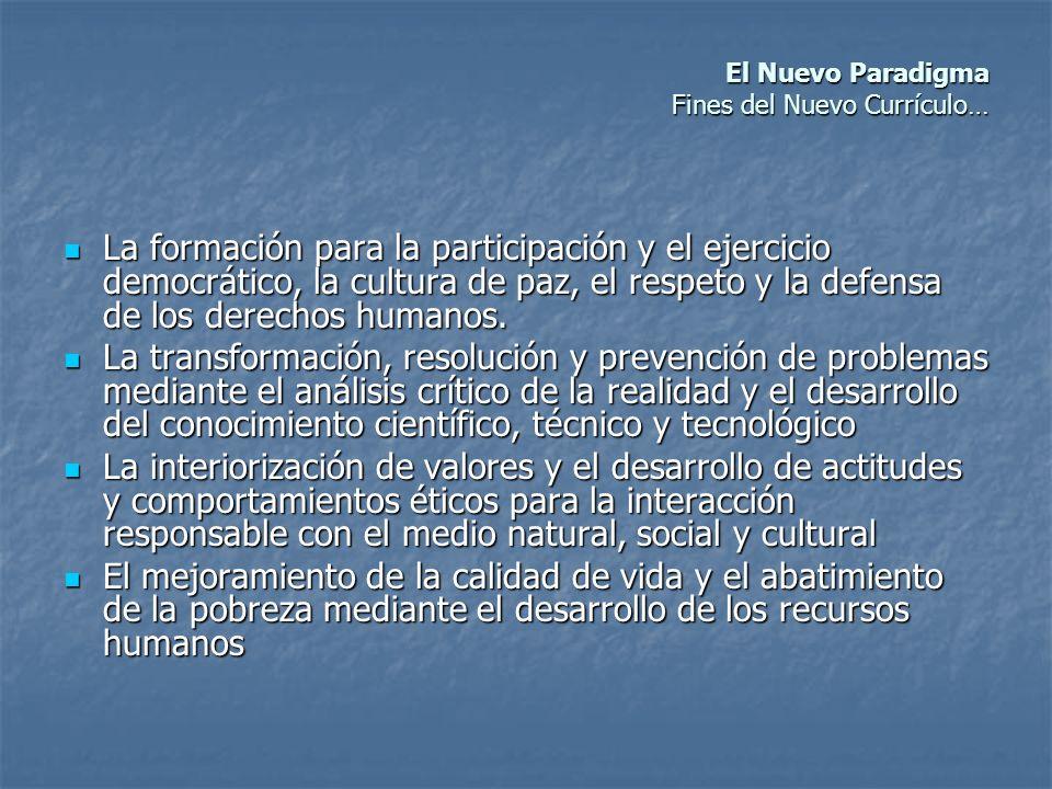 El Nuevo Paradigma Fines del Nuevo Currículo… El Nuevo Paradigma Fines del Nuevo Currículo… La formación para la participación y el ejercicio democrát