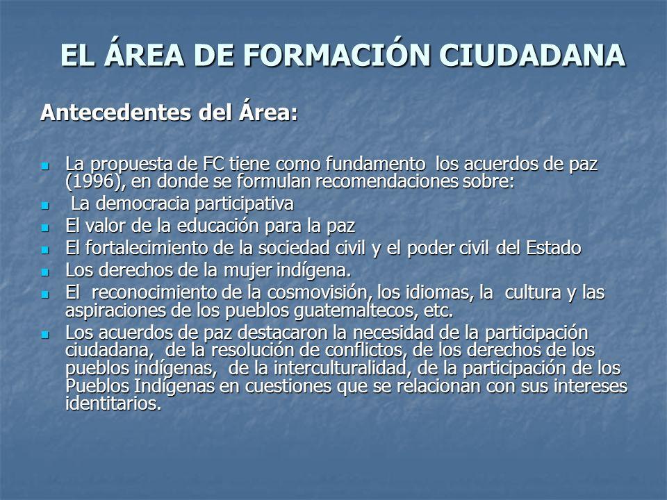 EL ÁREA DE FORMACIÓN CIUDADANA EL ÁREA DE FORMACIÓN CIUDADANA Antecedentes del Área: La propuesta de FC tiene como fundamento los acuerdos de paz (199
