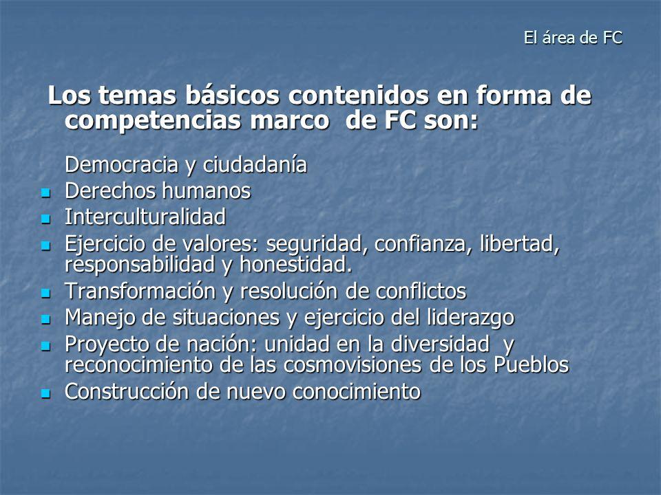 El área de FC El área de FC Los temas básicos contenidos en forma de competencias marco de FC son: Democracia y ciudadanía Los temas básicos contenido