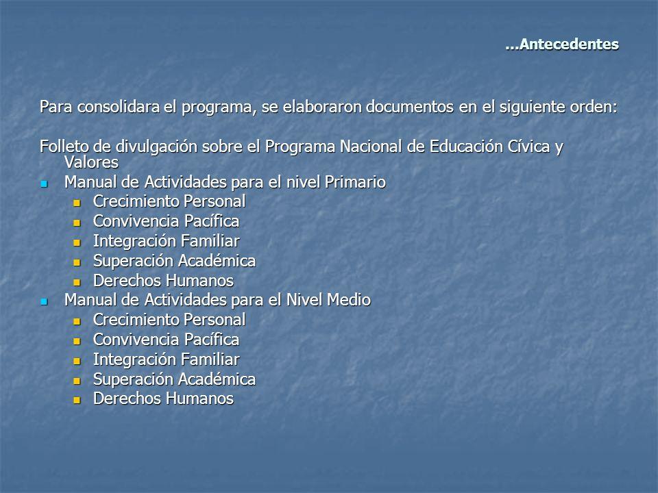 Para consolidara el programa, se elaboraron documentos en el siguiente orden: Folleto de divulgación sobre el Programa Nacional de Educación Cívica y