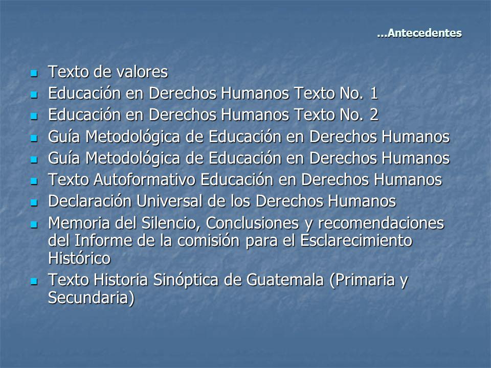 Texto de valores Texto de valores Educación en Derechos Humanos Texto No. 1 Educación en Derechos Humanos Texto No. 1 Educación en Derechos Humanos Te