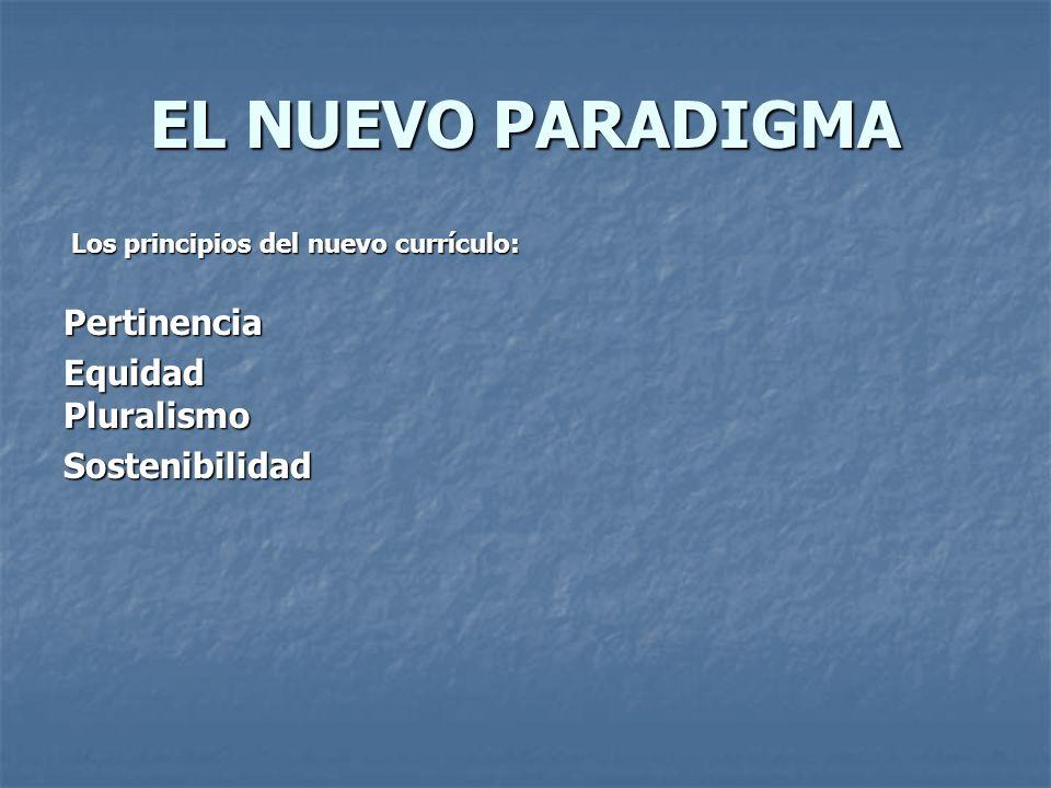 EL NUEVO PARADIGMA Los principios del nuevo currículo: Los principios del nuevo currículo:PertinenciaEquidadPluralismoSostenibilidad