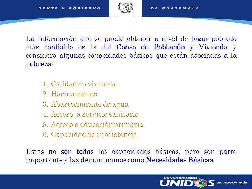 11 Necesidades Básicas Insatisfechas (NBI) La Información que se puede obtener a nivel de lugar poblado más confiable es la del Censo de Población y V