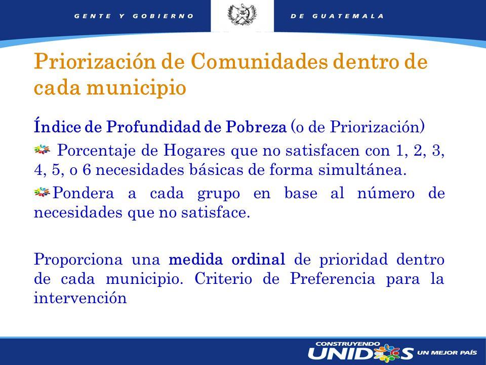 12 Índice de Profundidad de Pobreza (o de Priorización) Porcentaje de Hogares que no satisfacen con 1, 2, 3, 4, 5, o 6 necesidades básicas de forma simultánea.