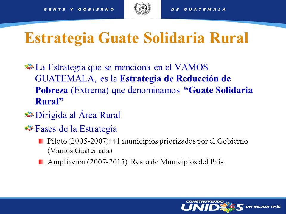 3 Estrategia Guate Solidaria Rural La Estrategia que se menciona en el VAMOS GUATEMALA, es la Estrategia de Reducción de Pobreza (Extrema) que denominamos Guate Solidaria Rural Dirigida al Área Rural Fases de la Estrategia Piloto (2005-2007): 41 municipios priorizados por el Gobierno (Vamos Guatemala) Ampliación (2007-2015): Resto de Municipios del País.
