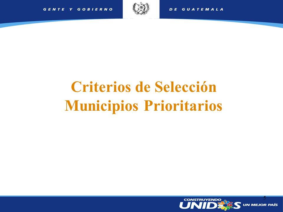 5 Criterios de Selección Municipios Prioritarios