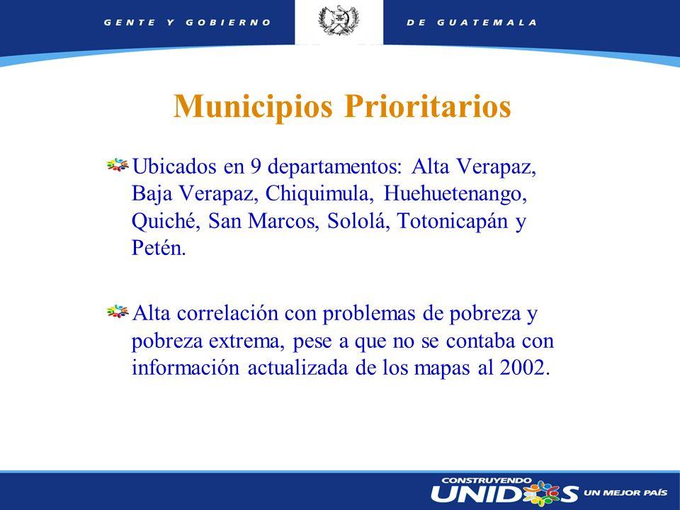 8 Municipios Prioritarios Ubicados en 9 departamentos: Alta Verapaz, Baja Verapaz, Chiquimula, Huehuetenango, Quiché, San Marcos, Sololá, Totonicapán y Petén.