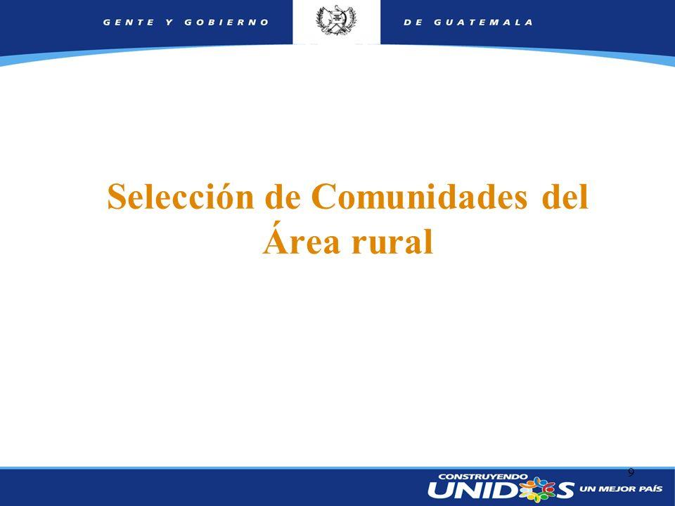 9 Selección de Comunidades del Área rural