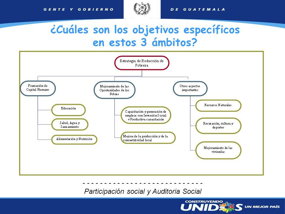 10 ¿Cuáles son los objetivos específicos en estos 3 ámbitos? - - - - - - - - - - - - - - Participación social y Auditoria Social