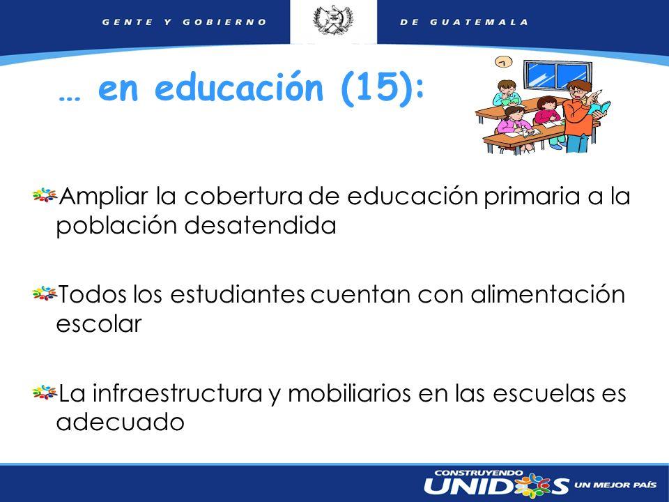 12 … en educación (15): Ampliar la cobertura de educación primaria a la población desatendida Todos los estudiantes cuentan con alimentación escolar L