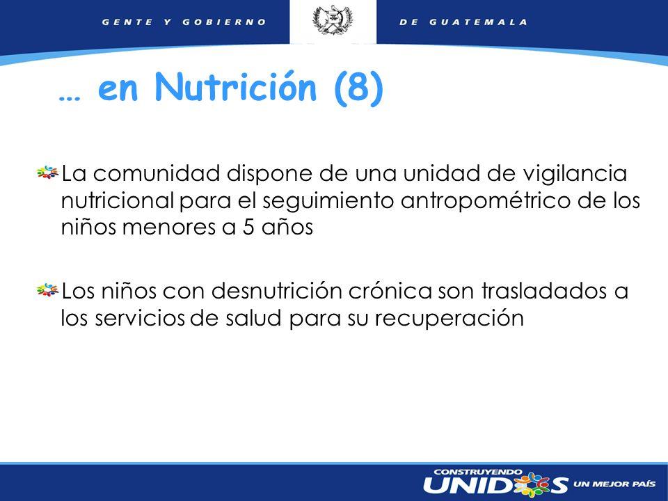 14 … en Nutrición (8) La comunidad dispone de una unidad de vigilancia nutricional para el seguimiento antropométrico de los niños menores a 5 años Lo
