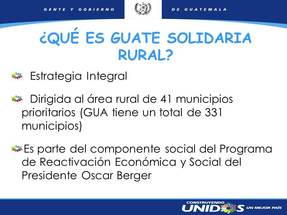 2 Estrategia Integral Dirigida al área rural de 41 municipios prioritarios (GUA tiene un total de 331 municipios) Es parte del componente social del P