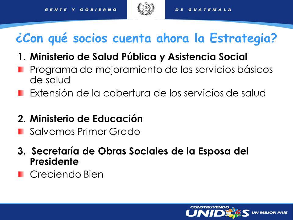 21 ¿Con qué socios cuenta ahora la Estrategia? 1.Ministerio de Salud Pública y Asistencia Social Programa de mejoramiento de los servicios básicos de