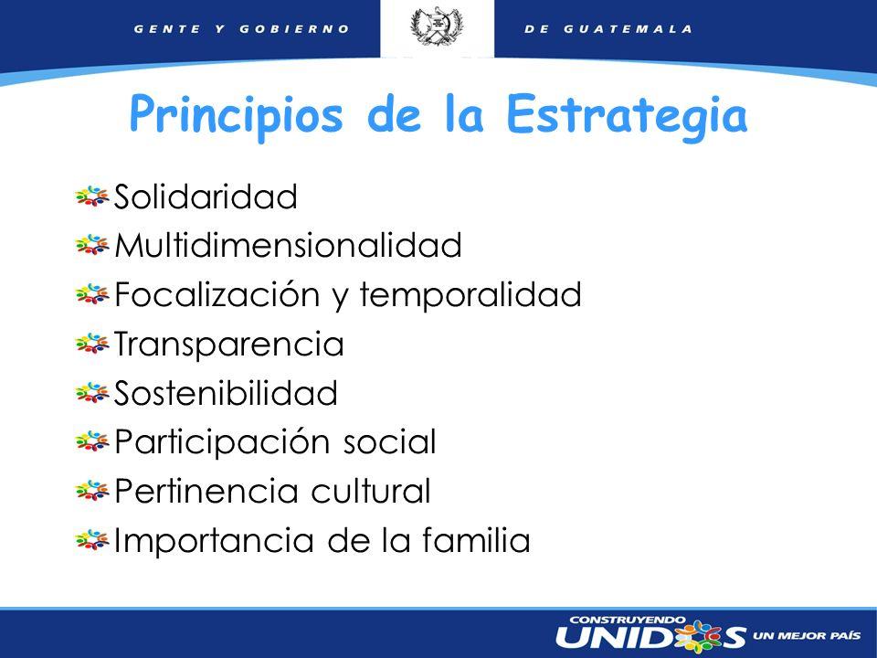 8 Principios de la Estrategia Solidaridad Multidimensionalidad Focalización y temporalidad Transparencia Sostenibilidad Participación social Pertinenc