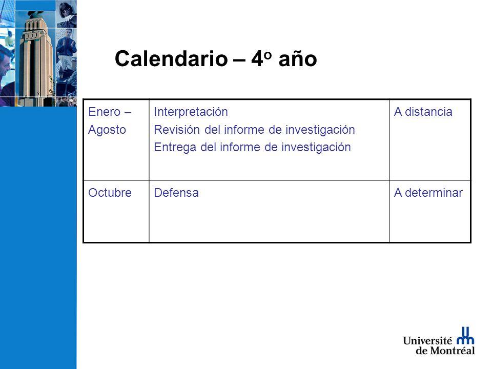 Enero – Agosto Interpretación Revisión del informe de investigación Entrega del informe de investigación A distancia OctubreDefensaA determinar Calendario – 4 o año