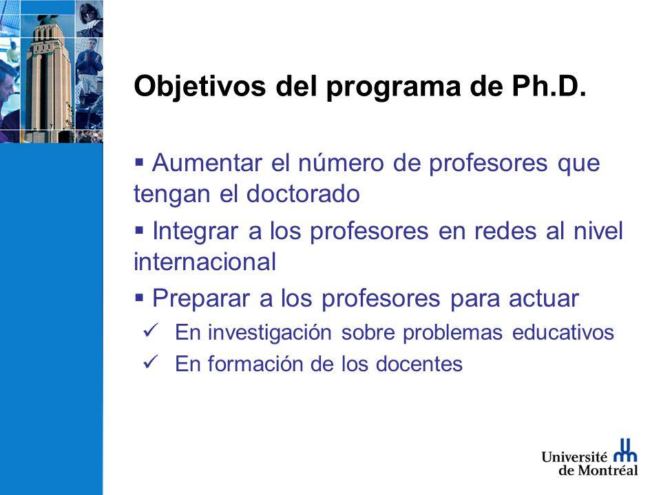 Características del programa Colaboración con el COLAM Creación de un grupo con miembros de varios paises Casi todo en español (incluido el tesis) Aprendizaje del frances Calendario de 4 años Programa sin distancia