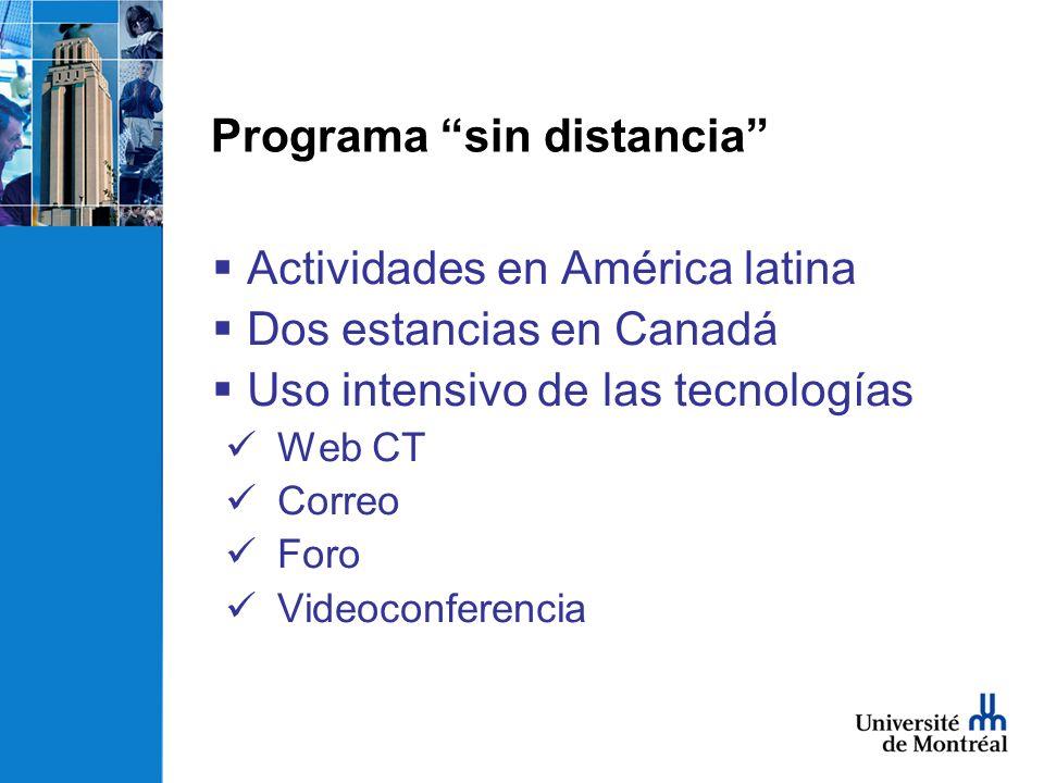 Actividades en América latina Dos estancias en Canadá Uso intensivo de las tecnologías Web CT Correo Foro Videoconferencia