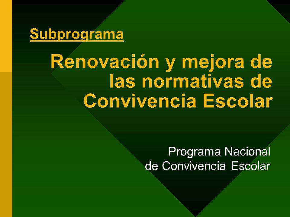 Renovación y mejora de las normativas de Convivencia Escolar Programa Nacional de Convivencia Escolar Subprograma
