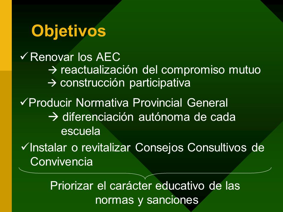 Objetivos Renovar los AEC reactualización del compromiso mutuo construcción participativa Producir Normativa Provincial General diferenciación autónom