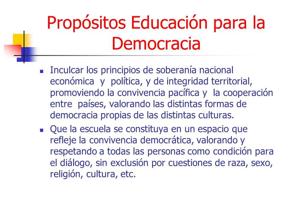 Propósitos Educación para la Democracia Inculcar los principios de soberanía nacional económica y política, y de integridad territorial, promoviendo l