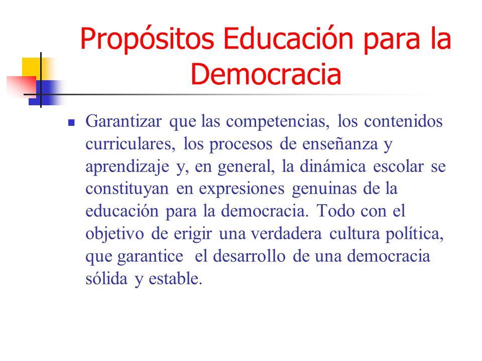 Propósitos Educación para la Democracia Garantizar que las competencias, los contenidos curriculares, los procesos de enseñanza y aprendizaje y, en ge