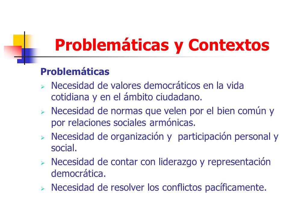 Problemáticas y Contextos Problemáticas Necesidad de valores democráticos en la vida cotidiana y en el ámbito ciudadano. Necesidad de normas que velen