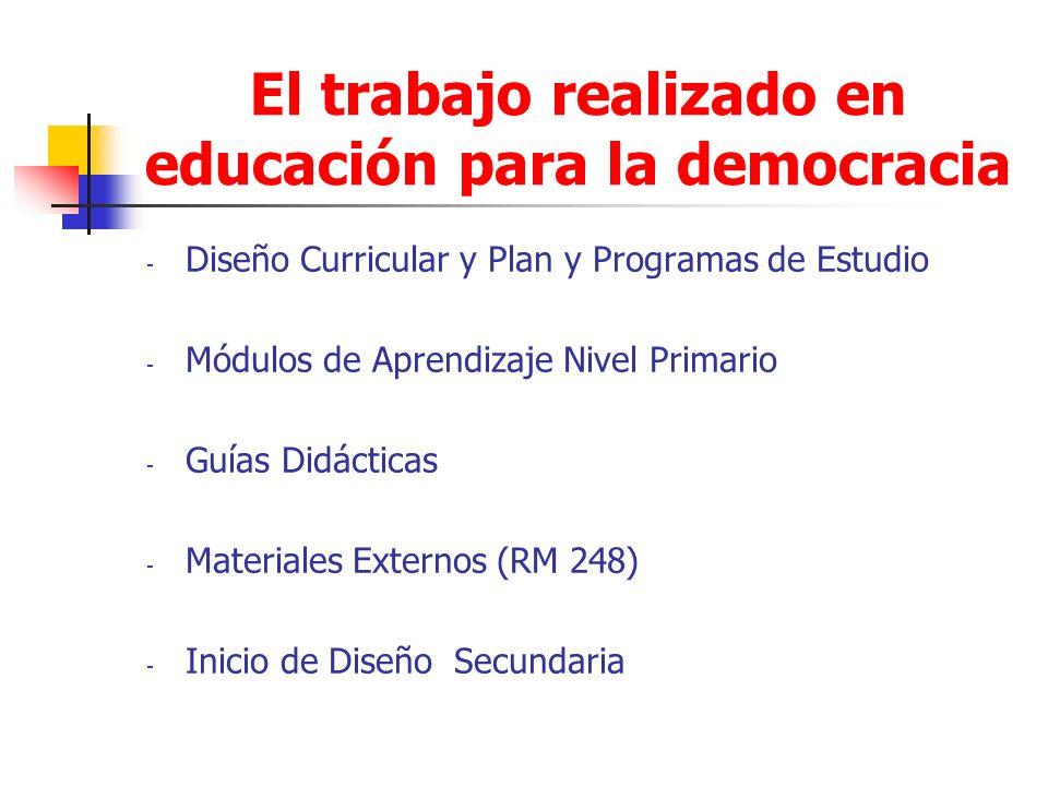 El trabajo realizado en educación para la democracia - Diseño Curricular y Plan y Programas de Estudio - Módulos de Aprendizaje Nivel Primario - Guías