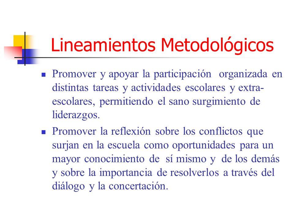 Lineamientos Metodológicos Promover y apoyar la participación organizada en distintas tareas y actividades escolares y extra- escolares, permitiendo e