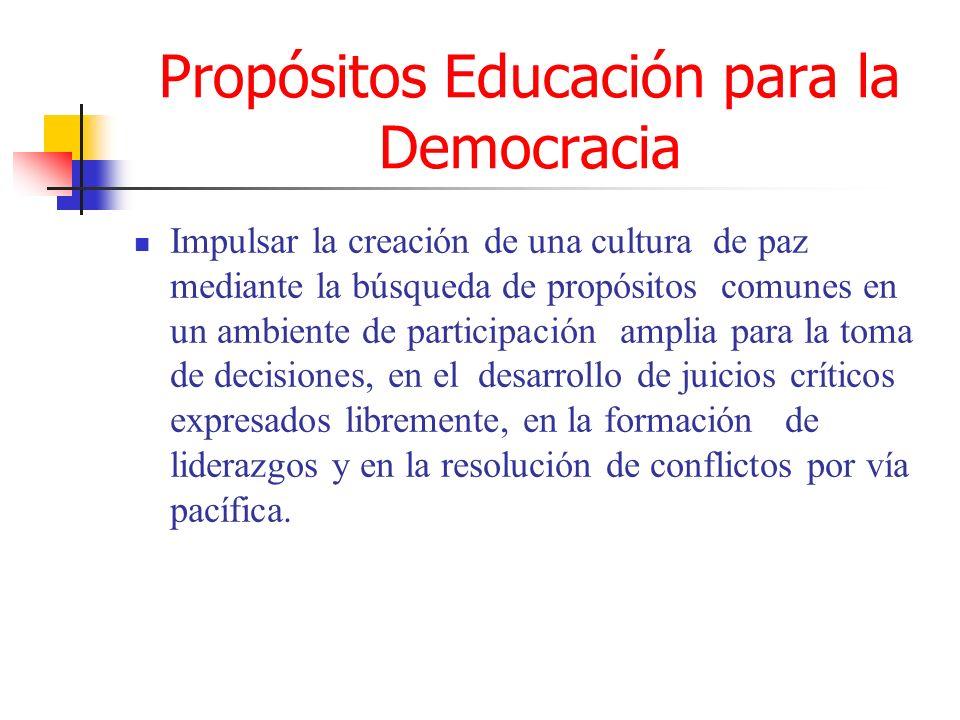 Propósitos Educación para la Democracia Inculcar los principios de soberanía nacional económica y política, y de integridad territorial, promoviendo la convivencia pacífica y la cooperación entre países, valorando las distintas formas de democracia propias de las distintas culturas.