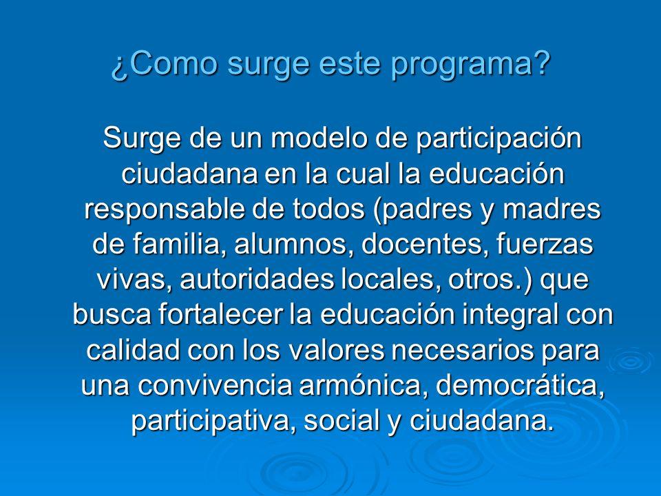 ¿Como surge este programa? Surge de un modelo de participación ciudadana en la cual la educación responsable de todos (padres y madres de familia, alu