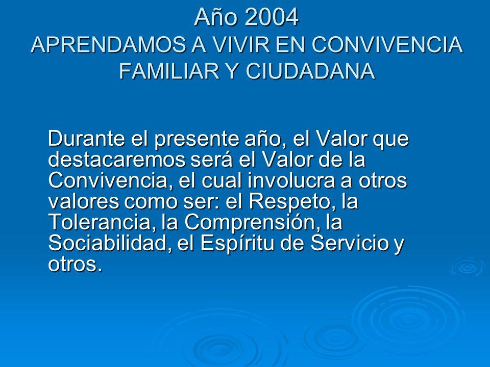 Año 2004 APRENDAMOS A VIVIR EN CONVIVENCIA FAMILIAR Y CIUDADANA Durante el presente año, el Valor que destacaremos será el Valor de la Convivencia, el