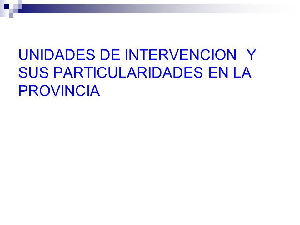 UNIDADES DE INTERVENCION Y SUS PARTICULARIDADES EN LA PROVINCIA