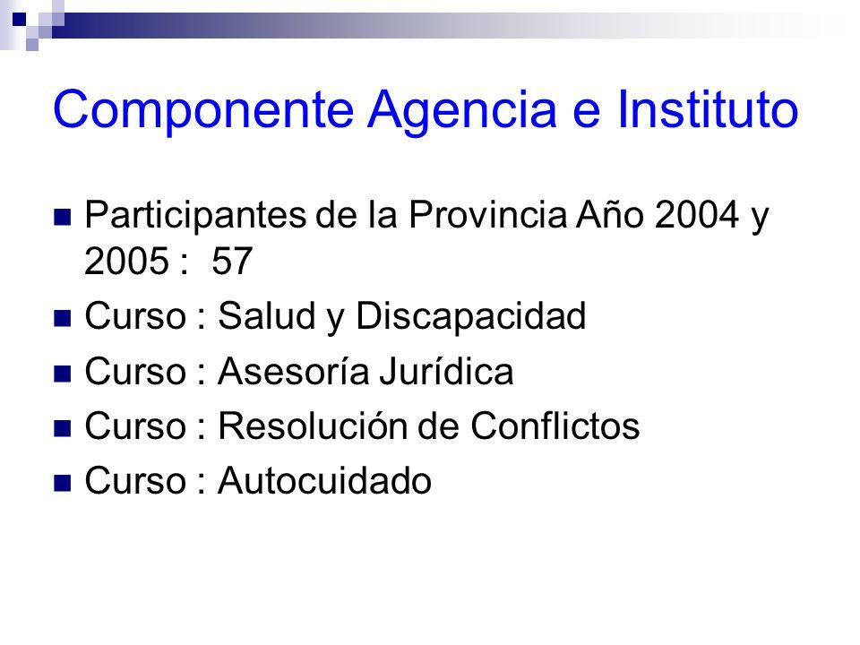 Componente Agencia e Instituto Participantes de la Provincia Año 2004 y 2005 : 57 Curso : Salud y Discapacidad Curso : Asesoría Jurídica Curso : Resol