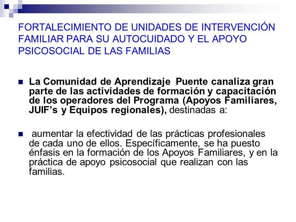 FORTALECIMIENTO DE UNIDADES DE INTERVENCIÓN FAMILIAR PARA SU AUTOCUIDADO Y EL APOYO PSICOSOCIAL DE LAS FAMILIAS La Comunidad de Aprendizaje Puente can