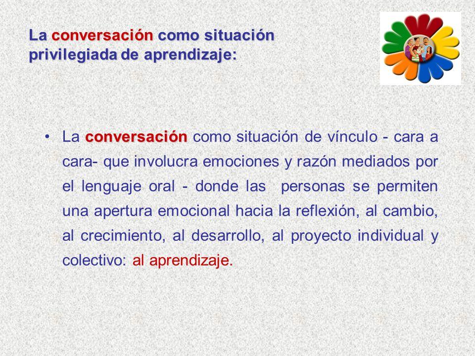La conversación como situación privilegiada de aprendizaje: conversaciónLa conversación como situación de vínculo - cara a cara- que involucra emocion
