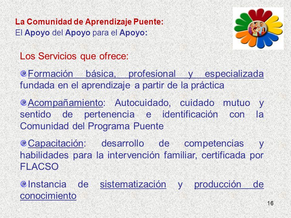 16 La Comunidad de Aprendizaje Puente: El Apoyo del Apoyo para el Apoyo: Los Servicios que ofrece: Formación básica, profesional y especializada funda