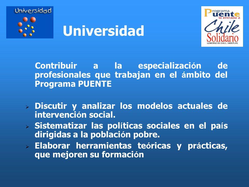 Universidad Contribuir a la especializaci ó n de profesionales que trabajan en el á mbito del Programa PUENTE Discutir y analizar los modelos actuales
