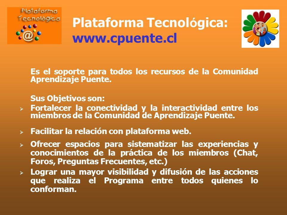 Plataforma Tecnol ó gica: www.cpuente.cl Es el soporte para todos los recursos de la Comunidad Aprendizaje Puente. Sus Objetivos son: Fortalecer la co